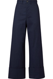 Cropped stretch-poplin wide-leg pants