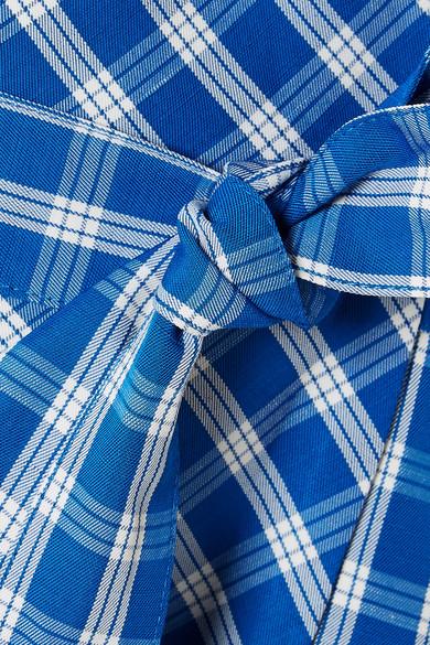 SEA Obi T-Shirt aus Baumwoll-Jersey mit Crêpe-Besatz in Gingham-Karo Großhandelspreis Verkauf Online 4yhVU4