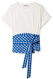 SEA Obi paneled gingham crepe and cotton-jersey T-shirt