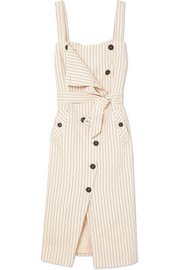 Audrey button-detailed ottoman midi dress
