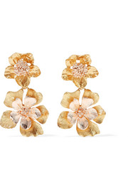 Oscar de la Renta Yellow and rose gold-tone clip earrings