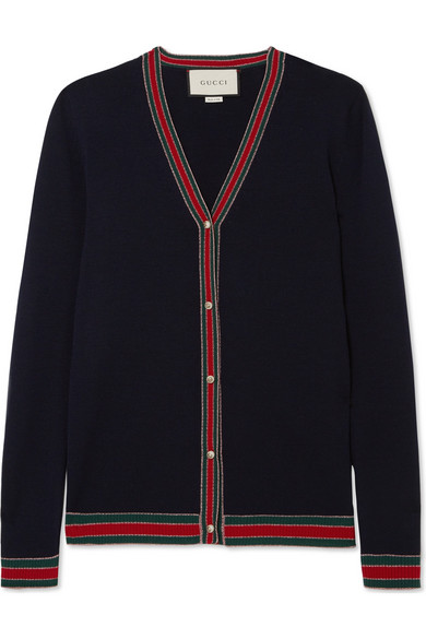 Gucci - Faux Pearl-embellished Wool Cardigan - Navy