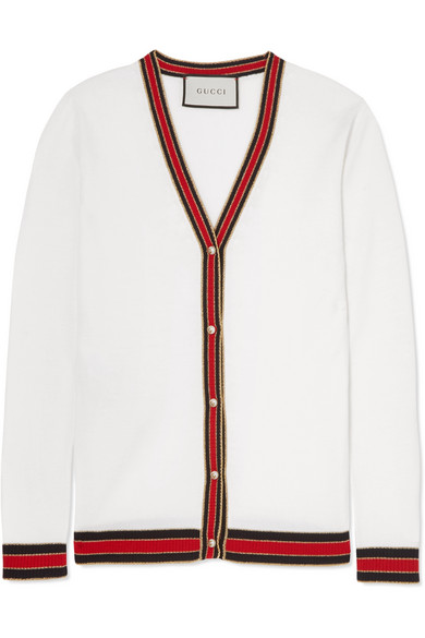Gucci - Faux Pearl-embellished Wool Cardigan - Ivory