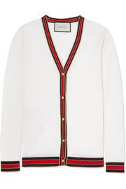Gucci Faux pearl-embellished wool cardigan
