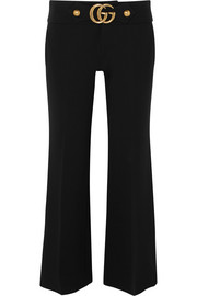 Gucci Cropped embellished crepe flared pants
