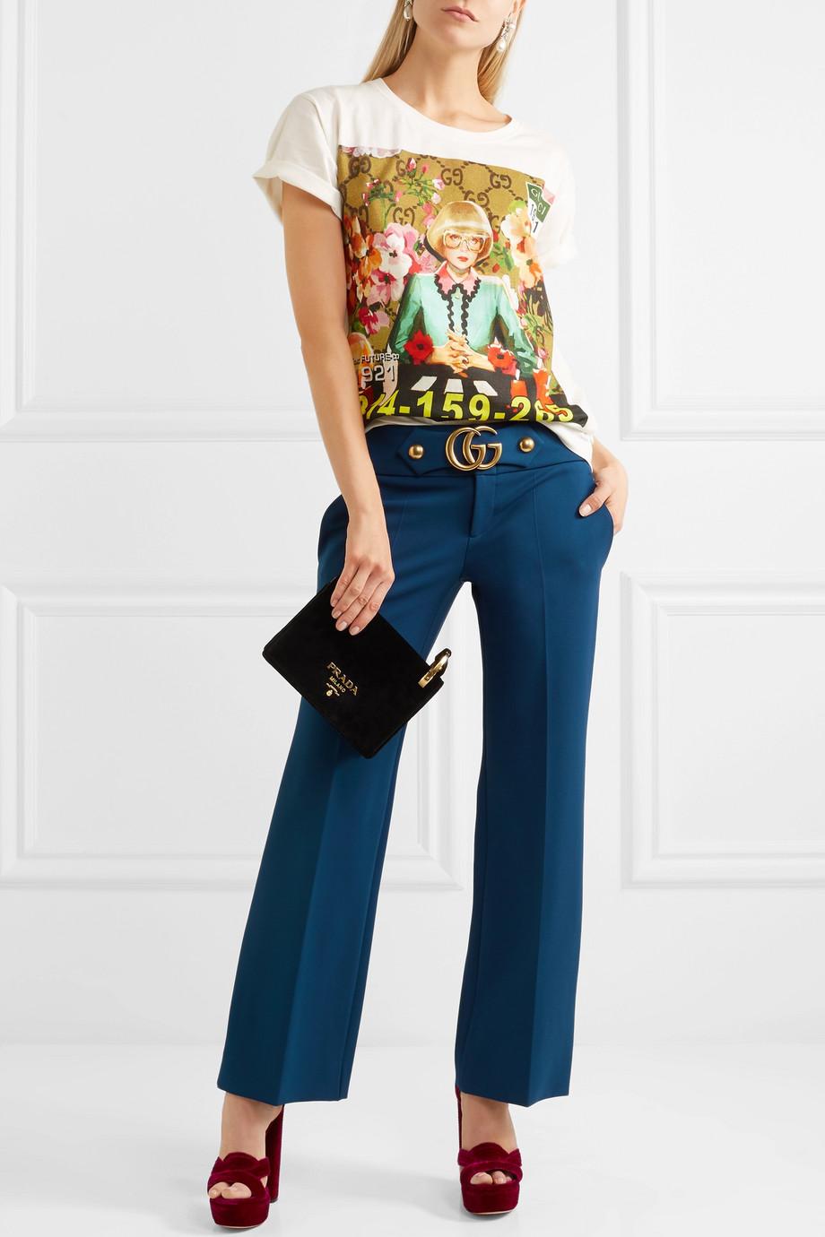 Gucci 带缀饰绉纱九分喇叭裤