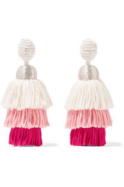 Oscar de la Renta Tiered tasseled beaded clip earrings