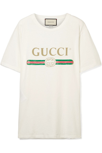Gucci | Appliquéd distressed printed cotton-jersey T-shirt |  NET-A-PORTER.COM