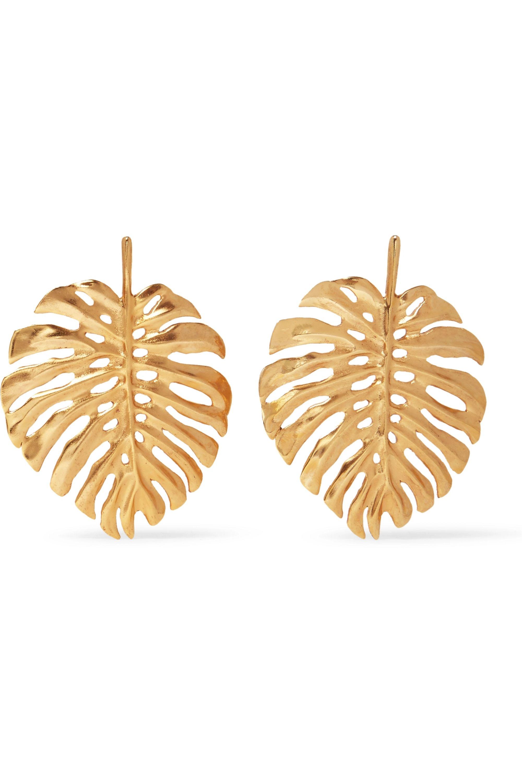 Oscar de la Renta Monstera Leaf gold-plated earrings