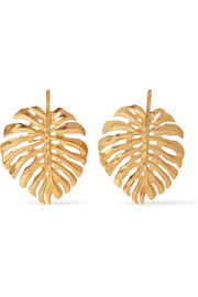 Oscar de la Renta Monstera Leaf gold-plated earrings