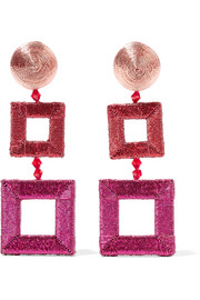 Beaded silk clip earrings