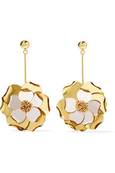 Oscar de la Renta - Petunia Gold-tone, Bead And Acetate Earrings