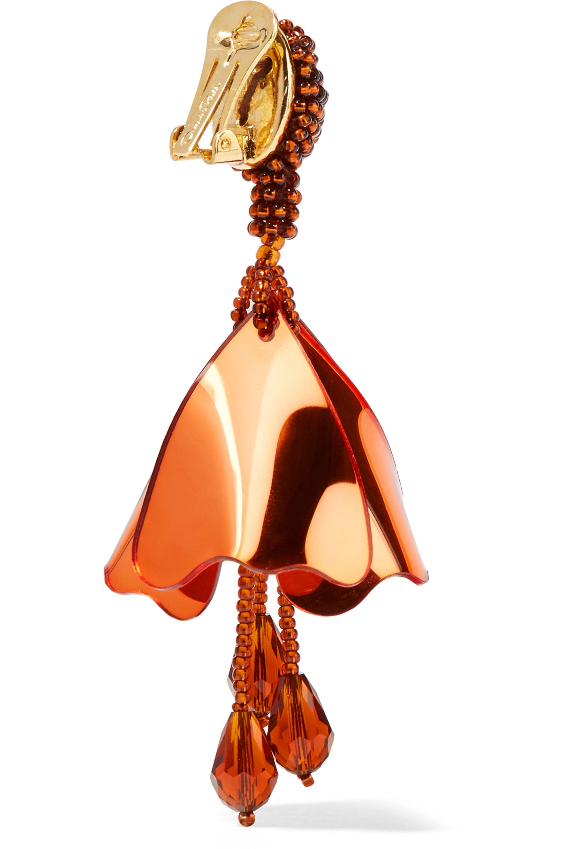 Oscar de la Renta Mini Impatiens beaded clip earrings