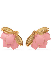 Oscar de la Renta Painted Wild Lotus gold-plated clip earrings