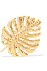 Oscar de la Renta Monstera Leaf gold-plated brooch