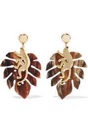Large Jungle gold-plated horn clip earrings