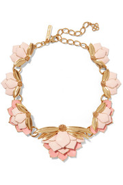 Oscar de la Renta Painted Wild Lotus gold-plated necklace