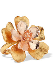 Oscar de la Renta Yellow and rose gold-tone ring