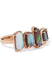 18-karat rose gold, opal and diamond ring