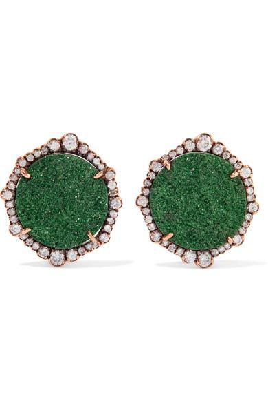Kimberly McDonald - 18-karat Rose Gold, Garnet And Diamond Earrings