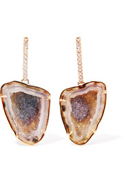 Kimberly McDonald 18-karat rose gold, geode and diamond earrings