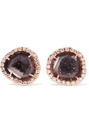 18-karat rose gold, geode and diamond earrings