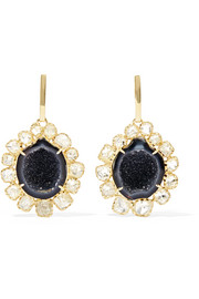 18-karat gold, geode and diamond earrings
