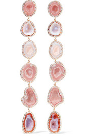 Kimberly McDonald 18-karat rose-gold, geode and diamond earrings