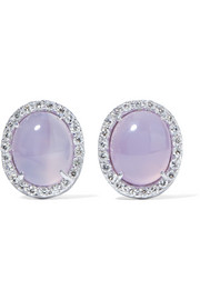 18-karat white gold, moonstone and diamond earrings