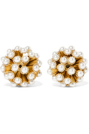 Rosantica Futura gold-tone faux pearl clip earrings
