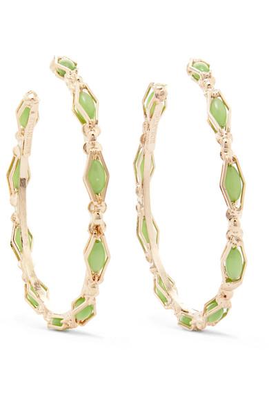 Rosantica - Destino Gold-tone Crystal Hoop Earrings - Green