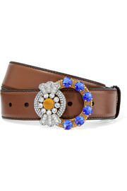 Crystal-embellished leather belt