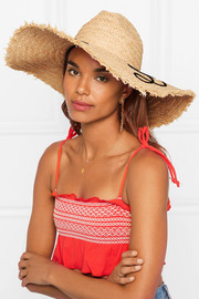 Miu Miu Frayed embroidered straw sunhat