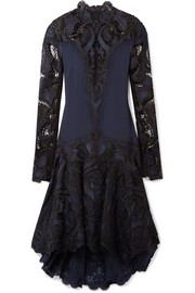 Jonathan Simkhai Asymmetric crepe and guipure lace dress
