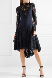 Asymmetric crepe and guipure lace dress