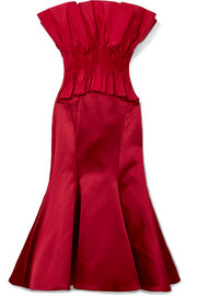 Jonathan Simkhai Pintucked taffeta and silk-satin midi dress