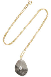 Einstein 18-karat gold, stone and diamond necklace
