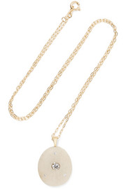 Betsy 18-karat gold, stone and diamond necklace