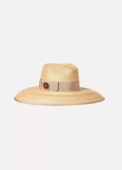 dbd5393573c Gucci Crystal Embellished Wide Brim Straw Hat - White In Beige ...