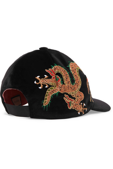 c6d63205e12 Gucci. Embroidered cotton-velvet baseball cap