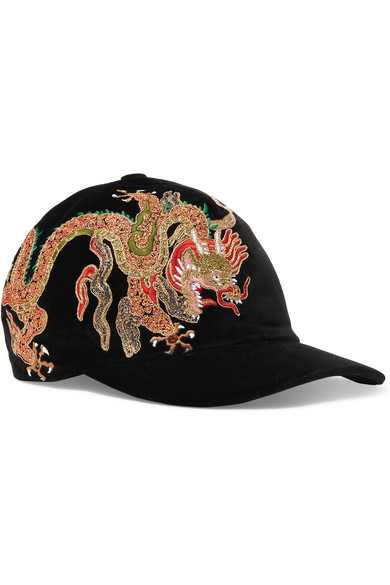 Gucci. Embroidered cotton-velvet baseball cap 59c51554c6e
