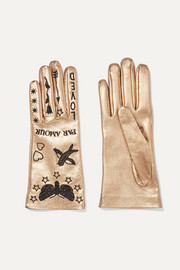 Embroidered metallic leather gloves