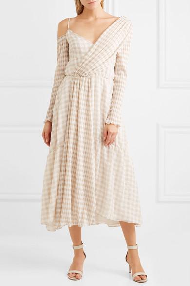 ADEAM Asymmetrisches Kleid aus Cloqué mit Gingham-Muster