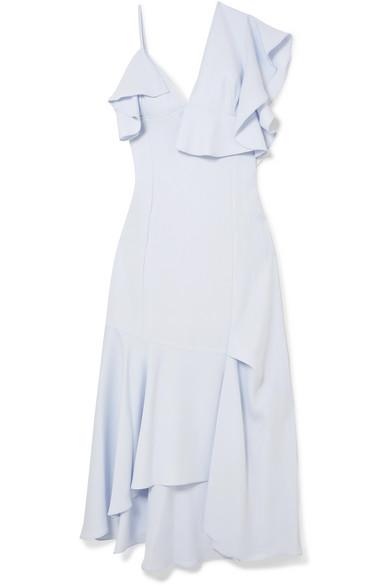 Robe Midi Asymétrique En Crêpe Adeam Avec Volants