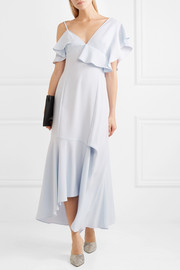 Asymmetric ruffled crepe midi dress
