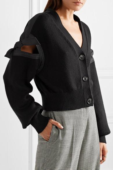 ADEAM Cardigan aus einer Baumwollmischung mit Bindedetails