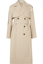 Wool-blend and quilted silk-satin trench coat