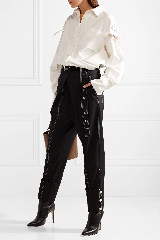 ADEAM Tie-detailed cotton-blend satin shirt