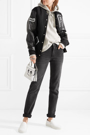 Appliquéd wool-blend twill and textured-leather bomber jacket