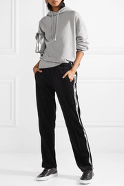 Striped cotton-blend velvet track pants